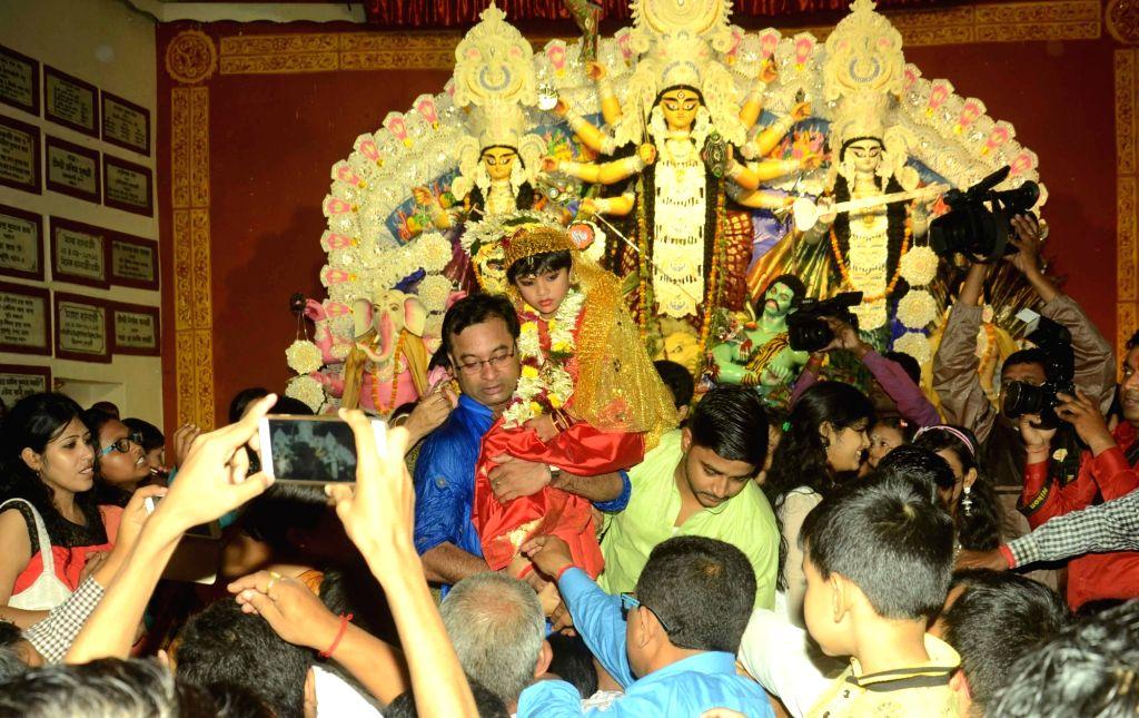 Kumari Puja underway at a Durga Puja Pandal on Mahaashtami of Durga Puja in Patna, on Oct 9, 2016.