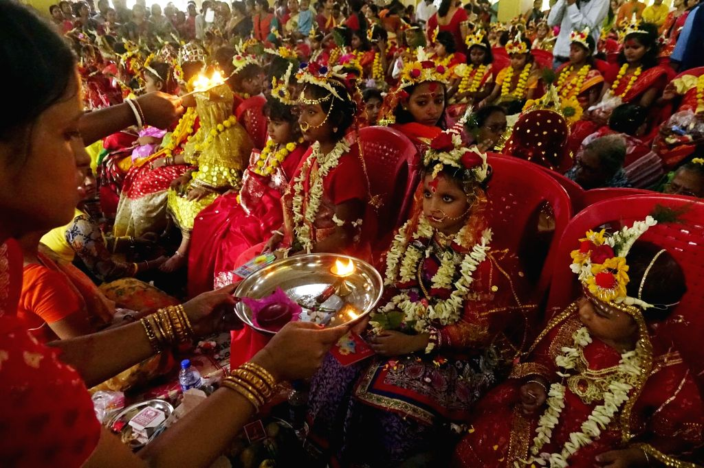 Kumari Puja underway at Adyapith temple on Ram Navami near Kolkata on March 25, 2018.