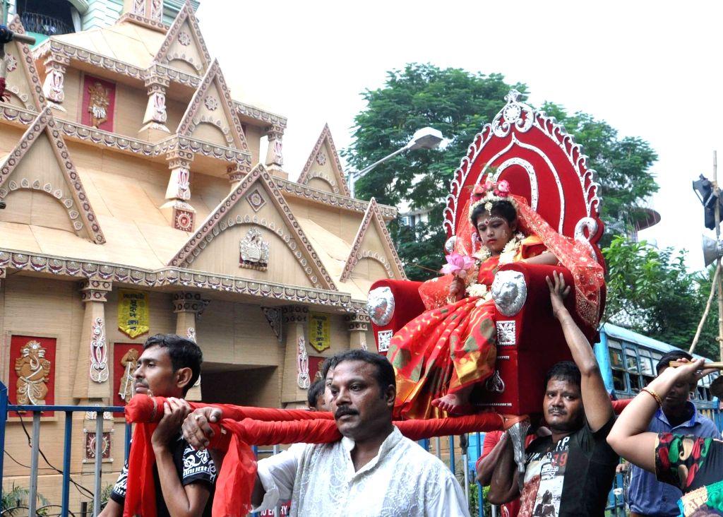 Kumari Puja underway at Ramakrishna Mission on the Mahaashtami of Durga Puja in Kolkata, on Oct 9, 2016.