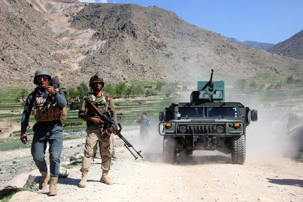 KUNAR, March. 28Afghan security force members take part in a military operation in Manogai district of Kunar province, Afghanistan, March 28, 2018. Four police personnel were killed and ...