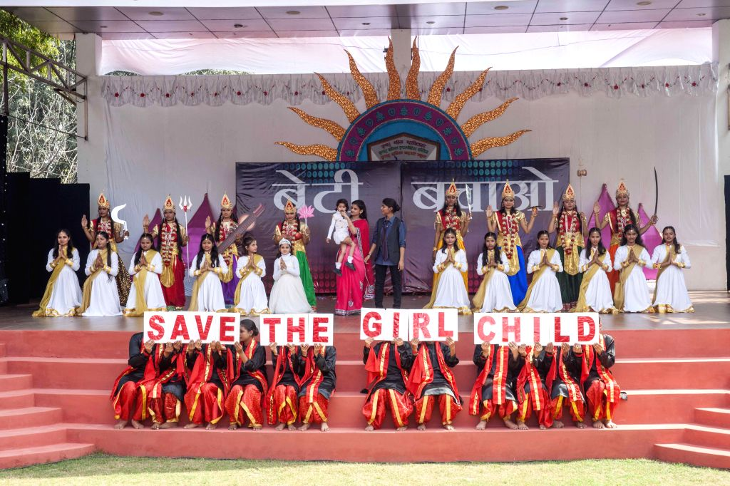 Students participate during a seminar organised as a part of the annual prize distribution ceremony of JKP Education at Jagadguru Kripalu Mahila College in Kunda on Feb 21, 2015.