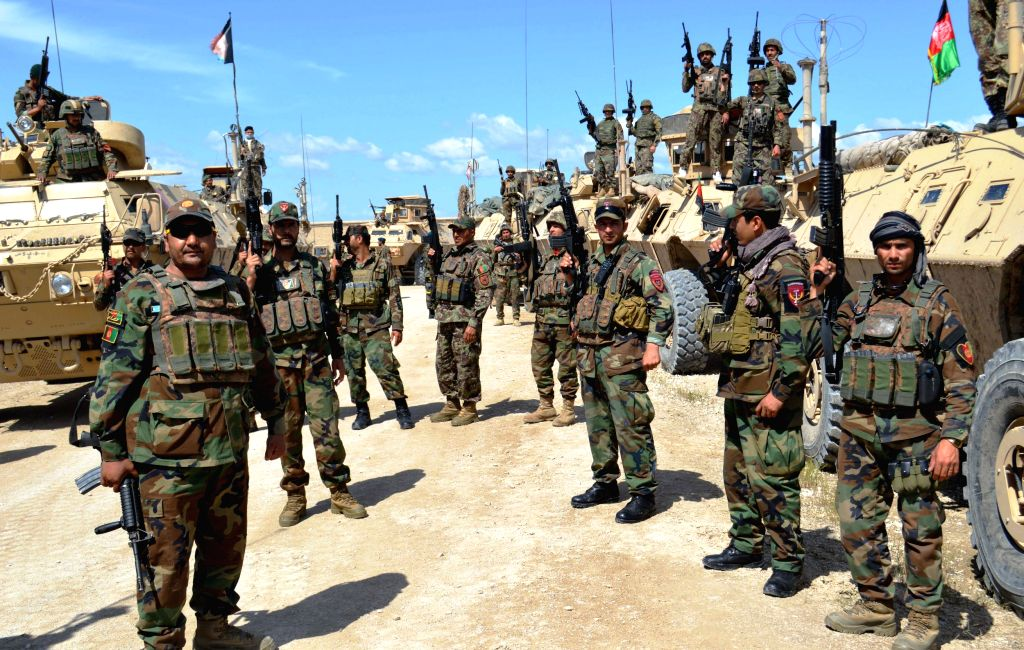 KUNDUZ, April 18, 2016 - Afghan security force members take part in a military operation against Taliban in Kunduz province, Afghanistan, on April 18, 2016. Afghan forces beefed up their clean up ...