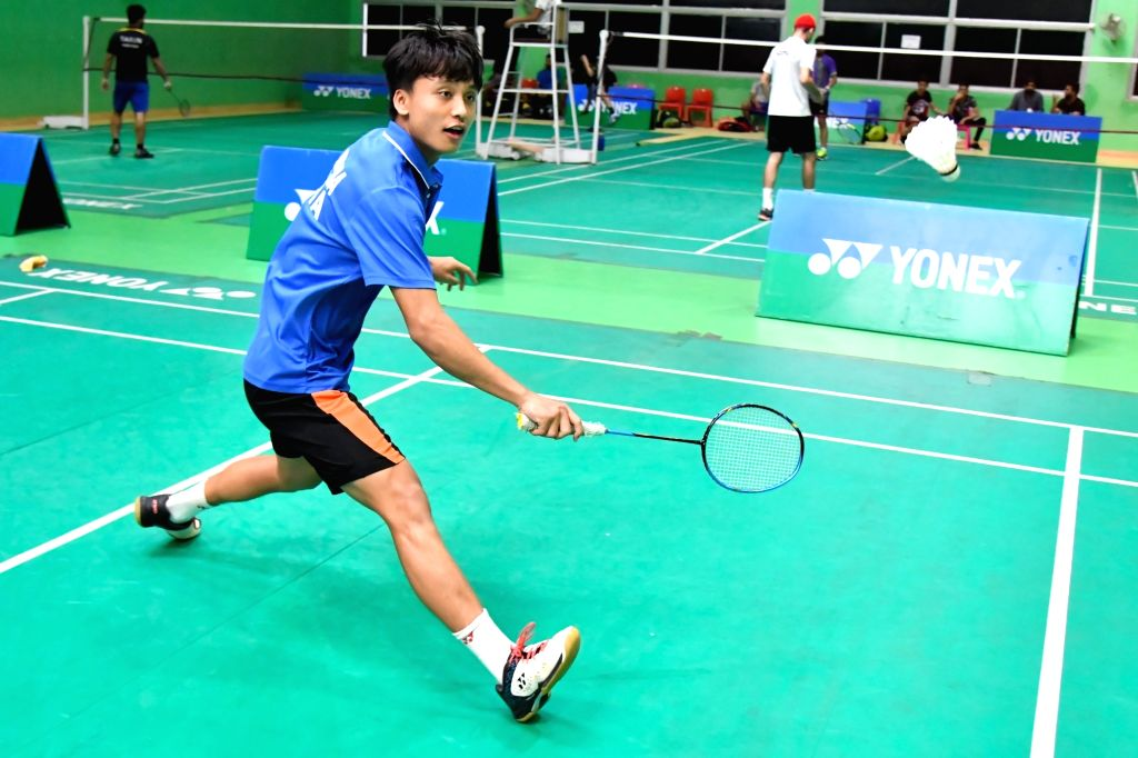 Kunlavut Vitidsarn in action during Badminton Asia Junior Championships 2019 at the Suzhou Olympic Sports Centre in China on July 25, 2019.