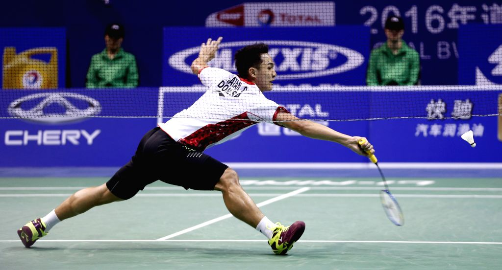 KUNSHAN, May 20, 2016 - Christie Jonatan of Indonesia competes during the men's singles match against Sun Wan Ho of South Korea in the semifinal match at the Thomas Cup badminton championship in ...