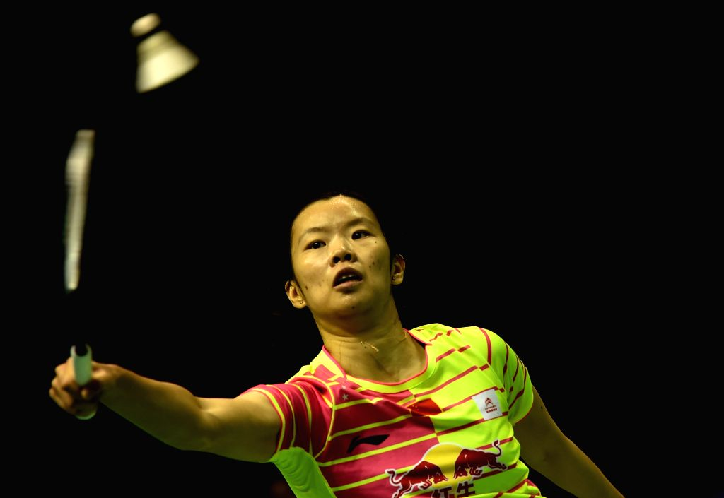KUNSHAN, May 20, 2016 - Li Xuerui of China competes during the women's singles match against Saina Nehwal of India in the semifinal match at the Uber Cup badminton championship in Kunshan, east ...