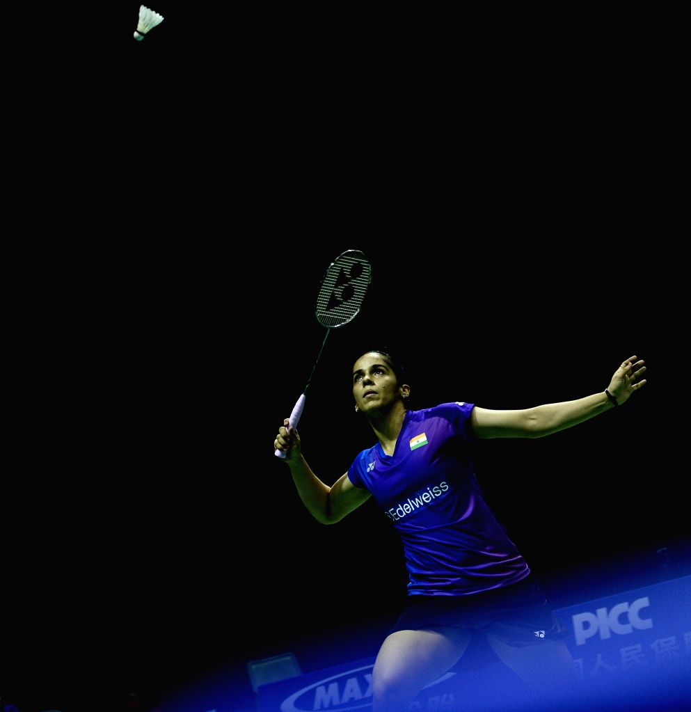 KUNSHAN, May 20, 2016 - Saina Nehwal of India competes during the women's singles match against Li Xuerui of China in the semifinal match at the Uber Cup badminton championship in Kunshan, east ...