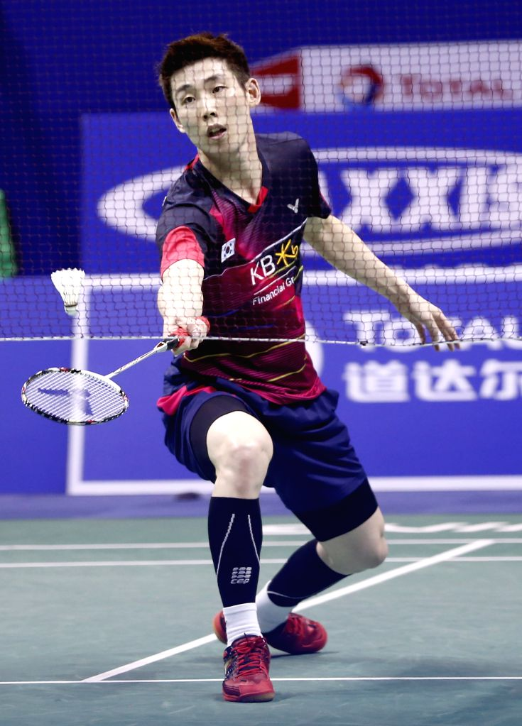 KUNSHAN, May 20, 2016 - Sun Wan Ho of South Korea competes during the men's singles match against Christie Jonatan of Indonesia in the semifinal match at the Thomas Cup badminton championship in ...