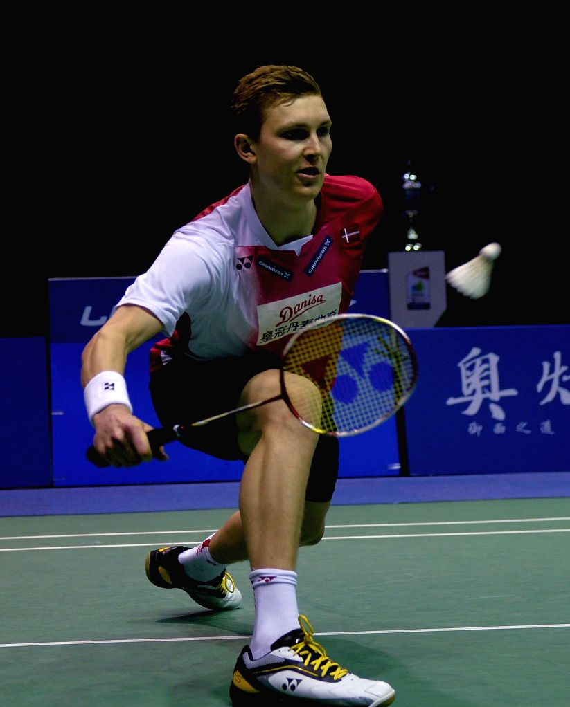 KUNSHAN, May 20, 2016 - Viktor Axelsen of Denmark competes during the men's singles match against Lee Chong Wei of Malaysia at the Thomas Cup badminton championship in Kunshan, east China's Jiangsu ...