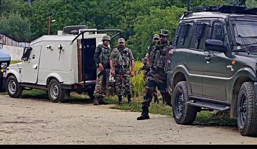 Kupwara: Army personnel on the job during an encounter between terrorists and security forces at Warnov area in Jammu and Kashmir's Kupwara district on Sep 5, 2020. The encounter in a forested area started after a joint team of the police and the arm