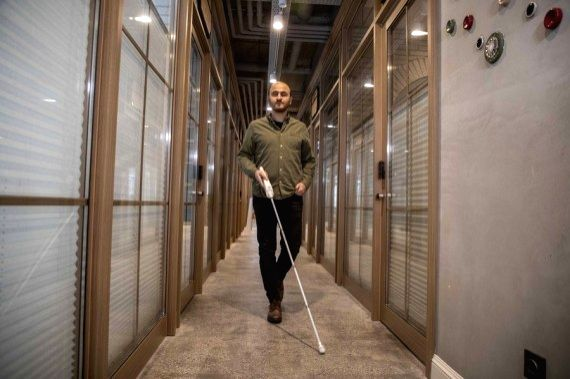Kursat Ceylan, who has congenital blindness, led a Turkish start-up that invented the We Walk smart cane which provides the blind people with navigation assistance via smart technologies.