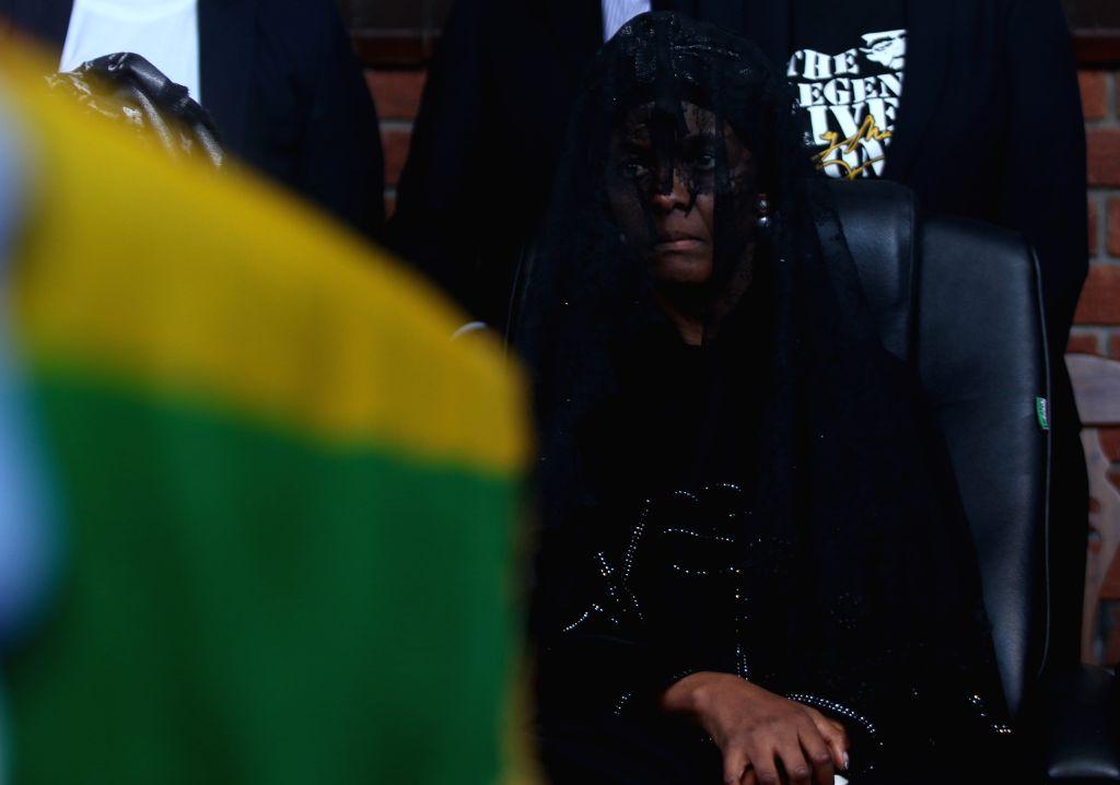 KUTAMA (ZIMBABWE), Sept. 28, 2019 Former Zimbabwean President Robert Mugabe's widow Grace Mugabe attends Mugabe's burial in Kutama, Mashonaland West Province, Zimbabwe, on Sept. 28, 2019. ...