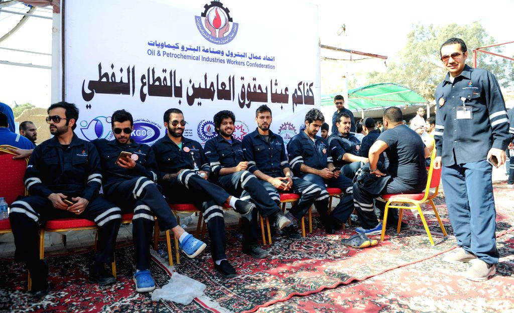 KUWAIT CITY, April 17, 2016 - Kuwaiti oil workers hold strike at the oil workers union headquarters in Al-Ahmadi, 35 km south of Kuwait city, on April 17, 2016. Kuwaiti oil and gas industry workers ...