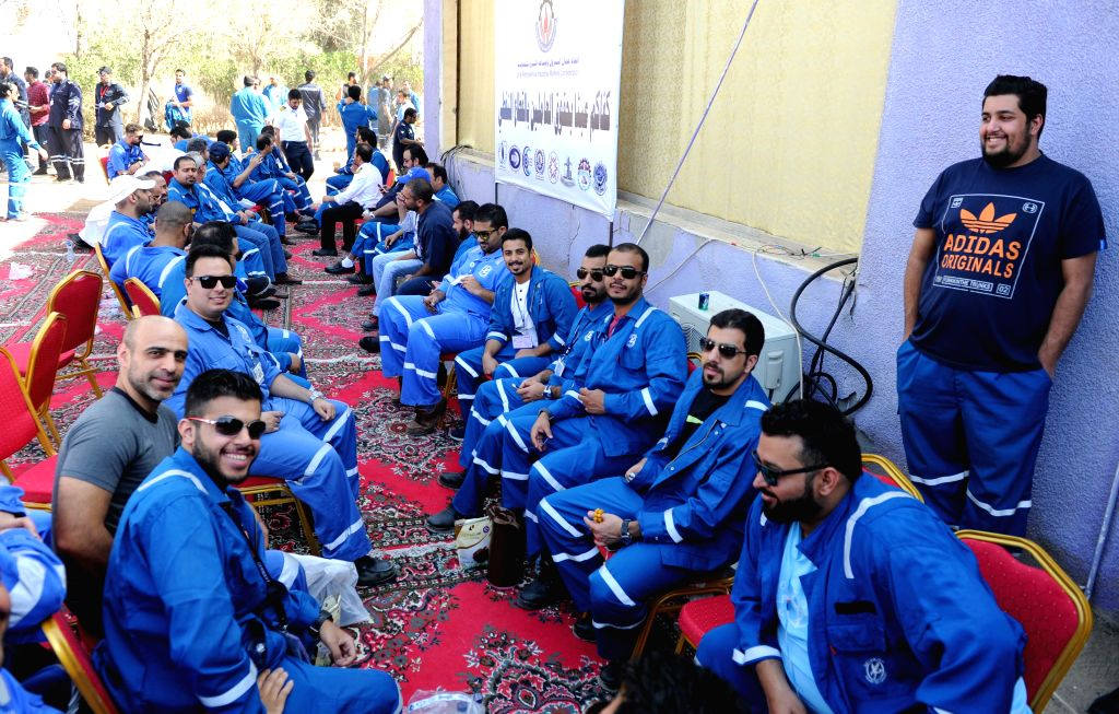 KUWAIT CITY, April 17, 2016 - Kuwaiti oil workers hold strike at the oil workers union headquarters in Al-Ahmadi, Kuwait, April 17, 2016. Kuwaiti oil and gas industry workers began a strike on Sunday ...