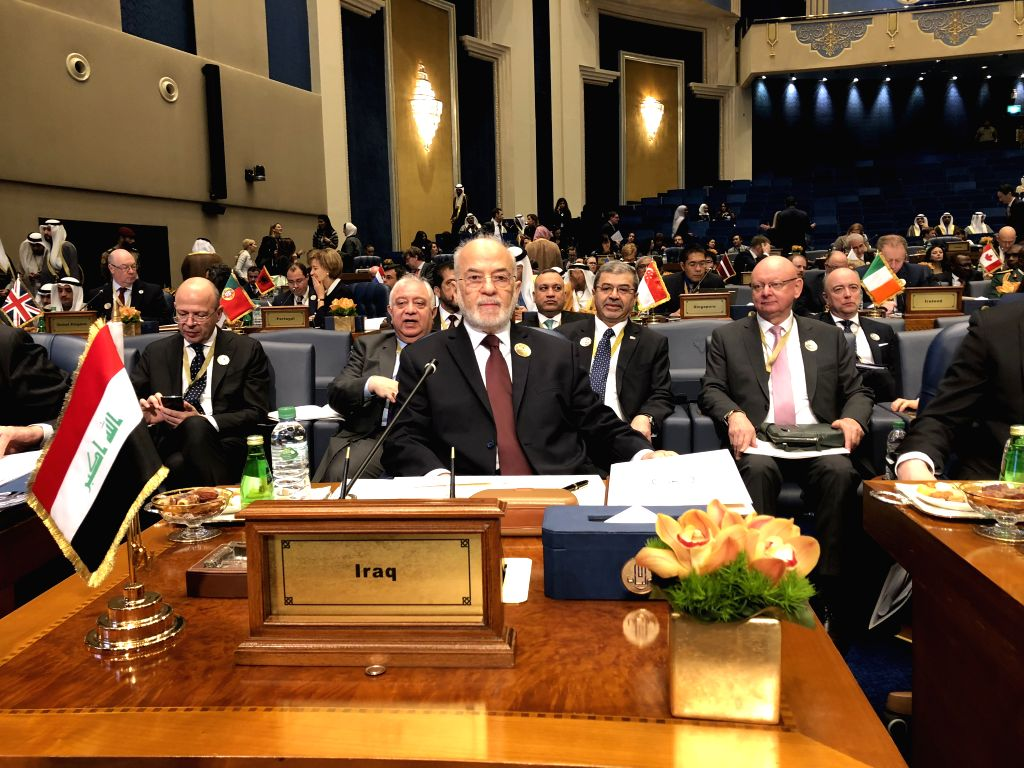 KUWAIT CITY, Feb. 13, 2018 - Iraqi Foreign Minister Ibrahim al-Jaafari (front) attends a ministerial meeting of the International Coalition against the Islamic State (IS), in Kuwait City, Kuwait, on ... - Ibrahim