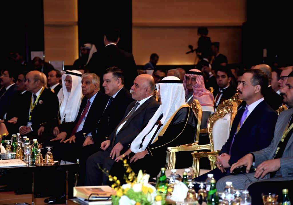 KUWAIT CITY, Feb. 13, 2018 - Iraqi Prime Minister Haider al-Abadi (4th R, Front) attends a conference on investment in Iraq, in Kuwait City, Kuwait, on Feb. 13, 2018. The conference on investment in ... - Haider