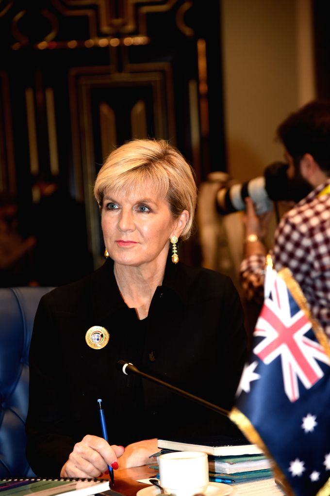 KUWAIT CITY, Feb. 14, 2018 - Australian Foreign Minister Julie Bishop attends the ministerial meeting of the Kuwait International Conference for the Reconstruction of Iraq (KICRI) in Kuwait City, ... - Julie Bishop