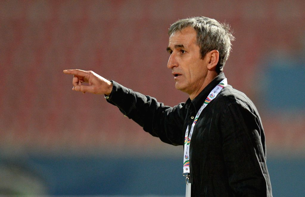 Branko Karacic, coach of Bahrain's Riffa SC, reacts during the AFC CUP 2015 Football match against Kuwait's Al Kuwait SC in Kuwait City, Kuwait, on March 11, ...