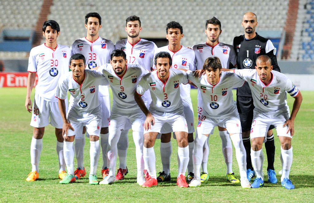 Start players of Kuwait's Al Kuwait SC pose before their AFC CUP 2015 Football match against Bahrain's Al Riffa SC in Kuwait City, Kuwait, on March 11, 2015. ...
