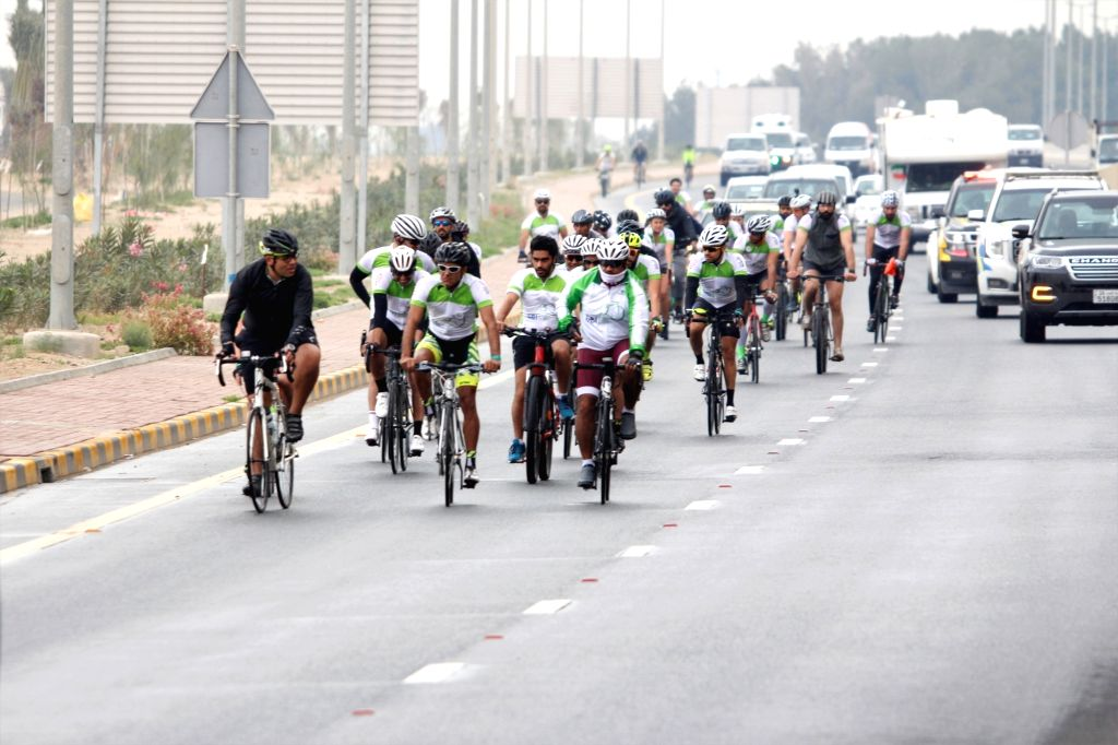 KUWAIT CITY, March 14, 2019 - Cyclists participate in a cycling event in Kuwait City, capital of Kuwait, on March 14, 2019. Kuwait launched on Thursday a cycling event in Kuwait City.
