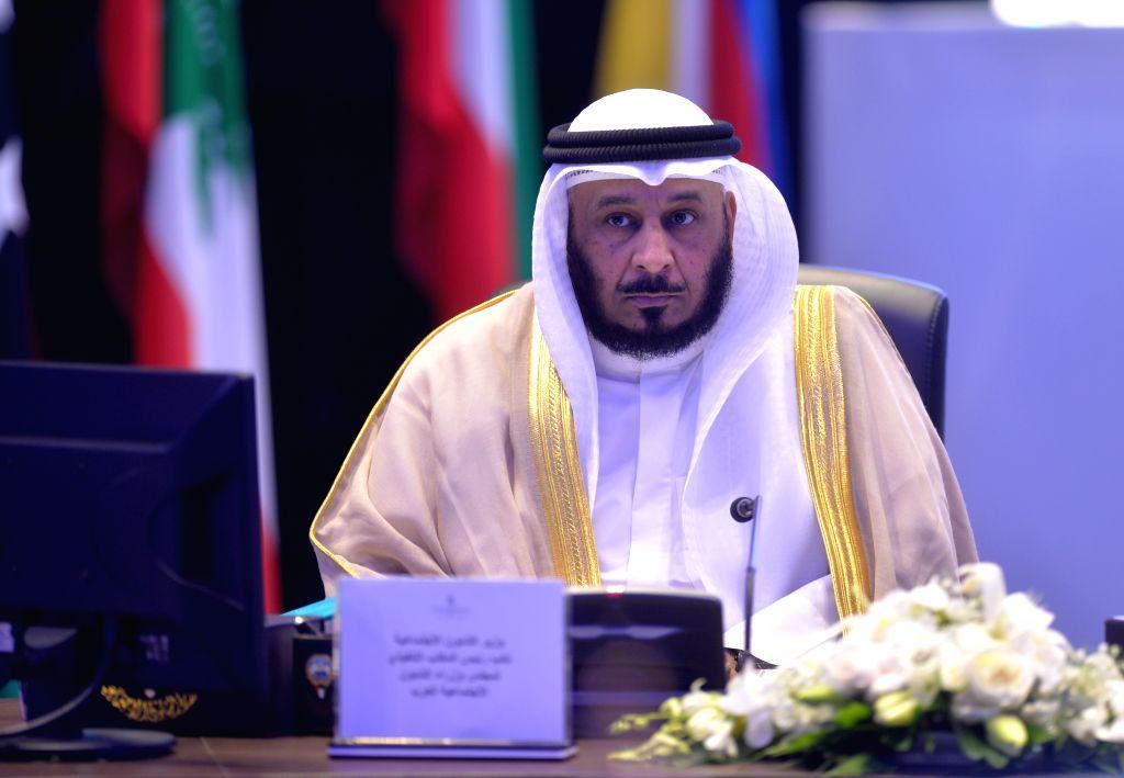 KUWAIT CITY, Oct. 16, 2019 - Kuwaiti Minister of Social Affairs Saad Al-Kharaz speaks during the 73rd session of the Council of Arab Social Affairs Ministers in Kuwait City, Kuwait, on Oct. 16, 2019. ...