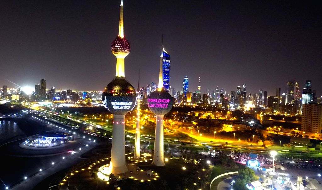 KUWAIT CITY, Sept. 4, 2019 - Image of the emblem of 22nd edition of the FIFA World Cup shows the Kuwait Towers, a famous landmark in Kuwait City, Kuwait, on Sept. 3, 2019. The official unveiling took ...