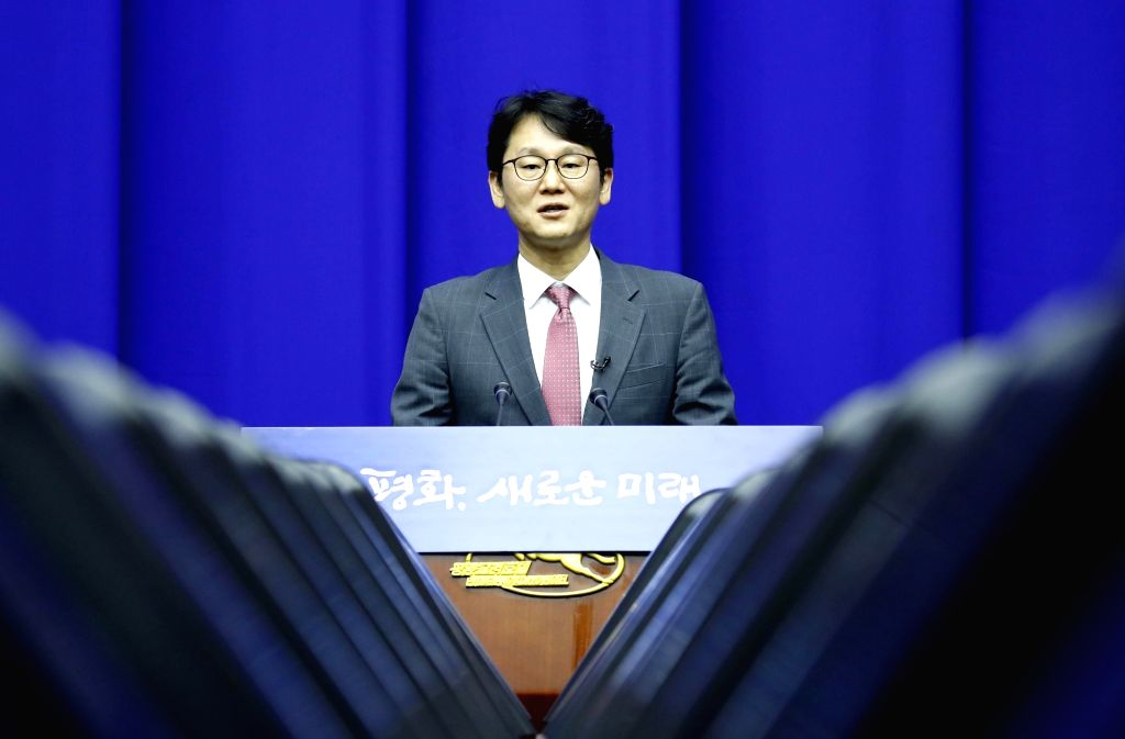 Kwun Hyuk-ki, a spokesman of South Korea's presidential office, attends a press conference at Pyongyang's Koryo Hotel on Sept. 17, 2018, after a South Korean advance team arrived at the ...