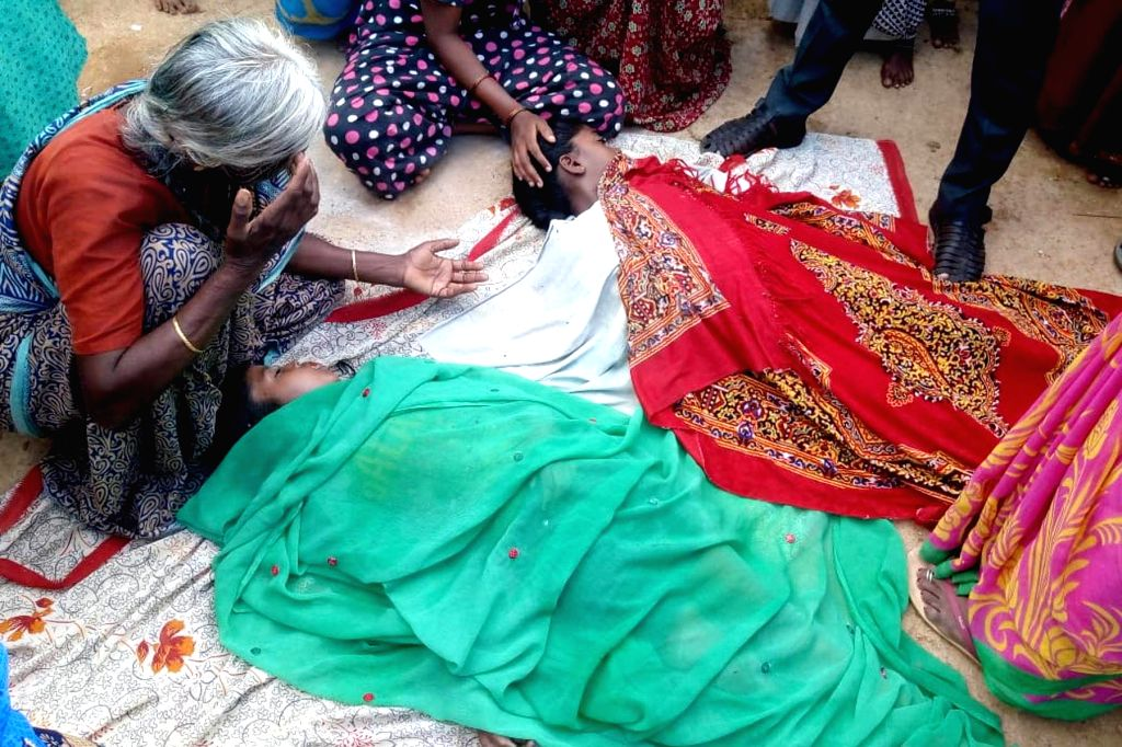 Kyasamballi Hobli: Bodies of two of the six children who drowned in a pond during Ganesh idol immersions in Kyasamballi Hobli of Karnataka on Sep 10, 2019.