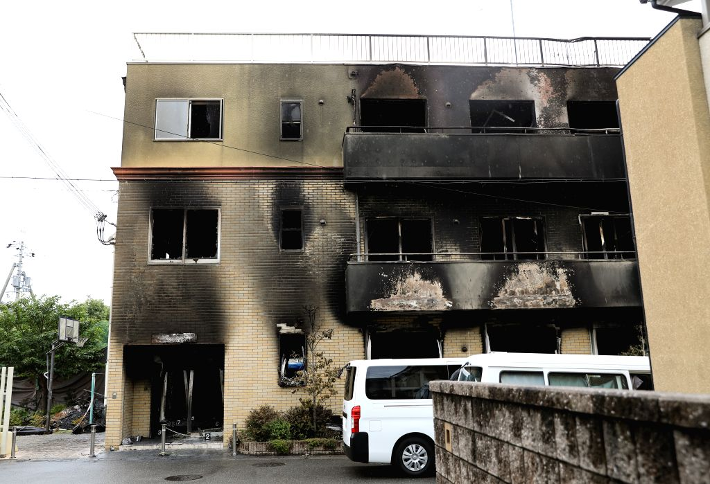 KYOTO, July 19, 2019 - Photo taken on July 19, 2019 shows a Kyoto Animation studio building after an arson attack in Kyoto, Japan. The motive behind an alleged arson attack on a studio of Kyoto ...