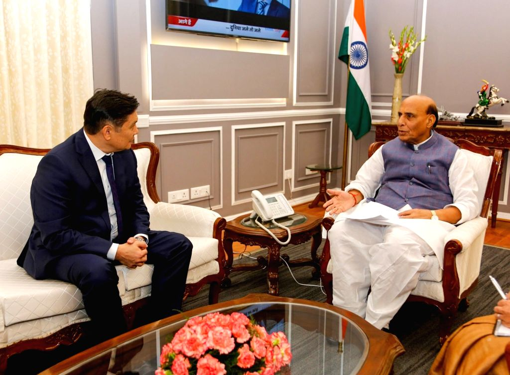 Kyrgyz Ambassador Asein Isaev meets Defence Minister Rajnath Singh at South Block in New Delhi on Sep 23, 2019. - Rajnath Singh