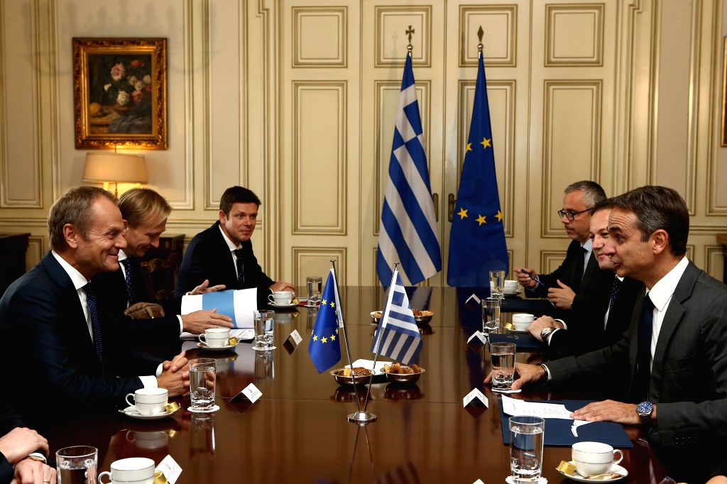 Kyriakos Mitsotakis (1st R) meets with President of the European Council Donald Tusk (1st L) in Athens, Greece, on Oct. 9, 2019.