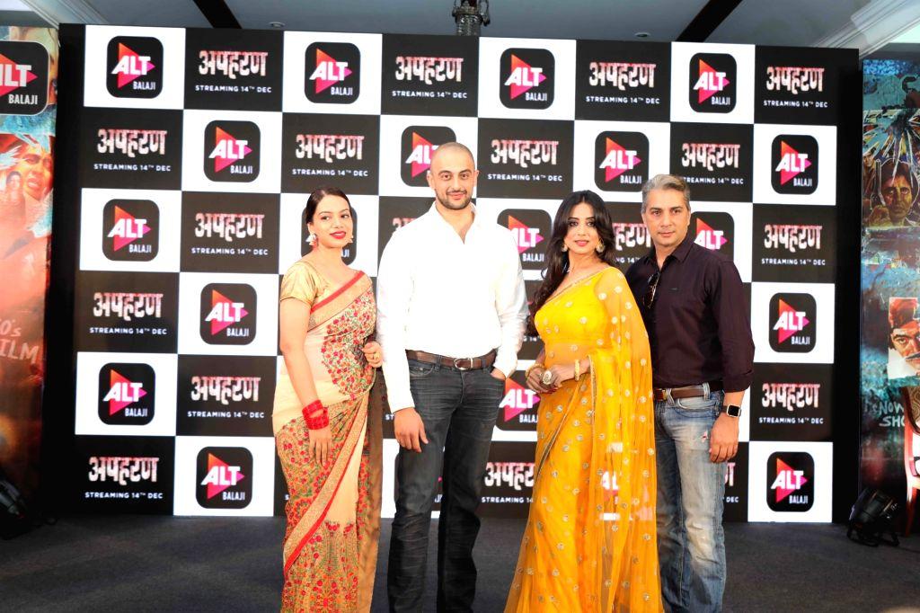 "(L-R) Actors Nidhi Singh, Arunodoy Singh, Mahi Gill and Varun Badola at the launch of their web series ""Apharan"" in New Delhi, on Dec 6, 2018. - Nidhi Singh, Arunodoy Singh, Mahi Gill and Varun Badola"