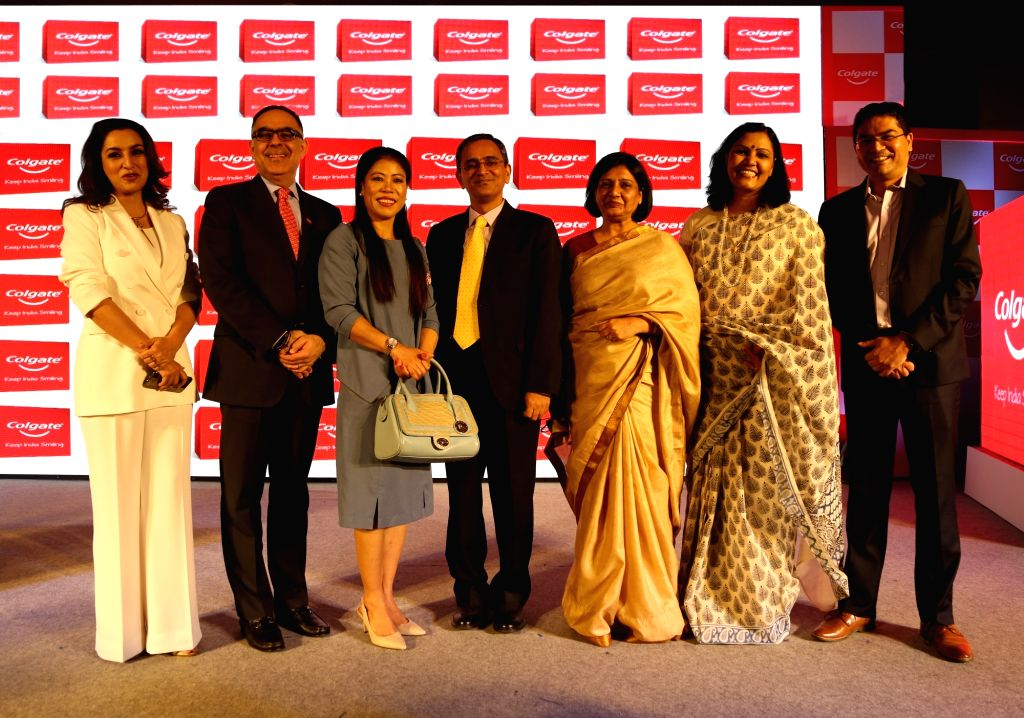 """(L-R) Actress Tisca Chopra, Colgate-Palmolive (India) Limited Director Issam Bachaalani, boxer MC Mary Kom and ShikshaDaan Foundation Advisor Rajeev Grover at the launch of """"Keep ... - Tisca Chopra and Mary Kom"""