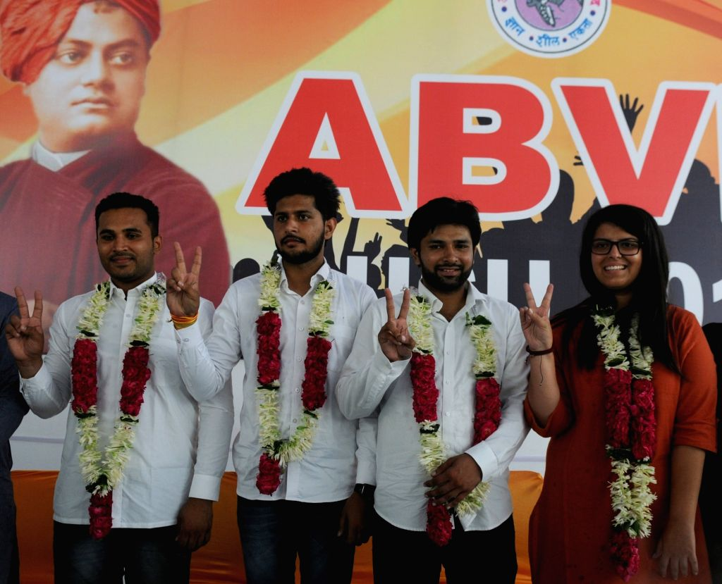 (L-R) Akhil Bharatiya Vidyarthi Parishad (ABVP) candidates for the upcoming elections to the Delhi University Students Union (DUSU) - Akshit Dahiya for President, Pradeep Tanwar for ...