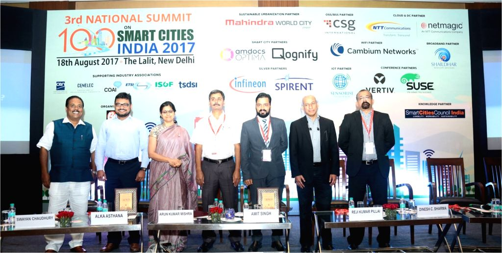 (L-R) Bharat Exhibitions Managing Director Shashi Dharan, Panaji Smart City Development Limited MD and CEO Swayan Chaudhury, Bharti Infratel Limited CTO Alka Asthana, National Smart Grid ... - Arun Kumar Mishra, Swayan Chaudhury, Amit Singh, Reji Kumar Pillai and Dinesh Chand Sharma