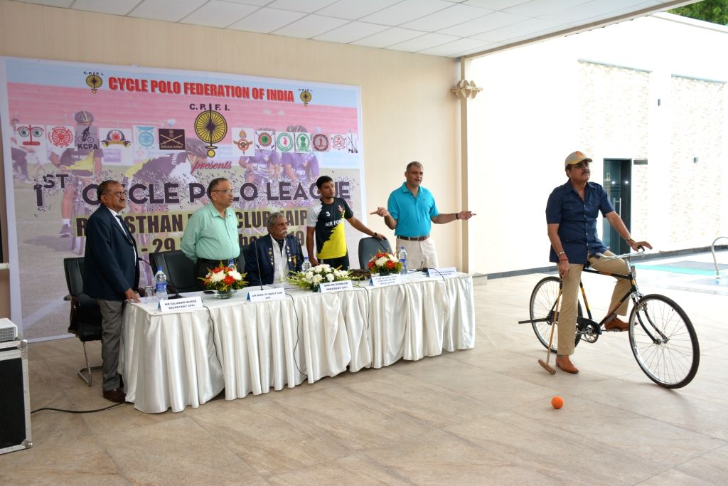 (L-R) Cycle Polo Federation of India (CPFI) Secretary Gajanan Burde, Indian Air Force Air Officer-in Charge Administration (AOA) Air Marshal Pradeep Padmakar Bapat, CPFI President R. S. ... - Assarudeen Sha and A. K. Singh