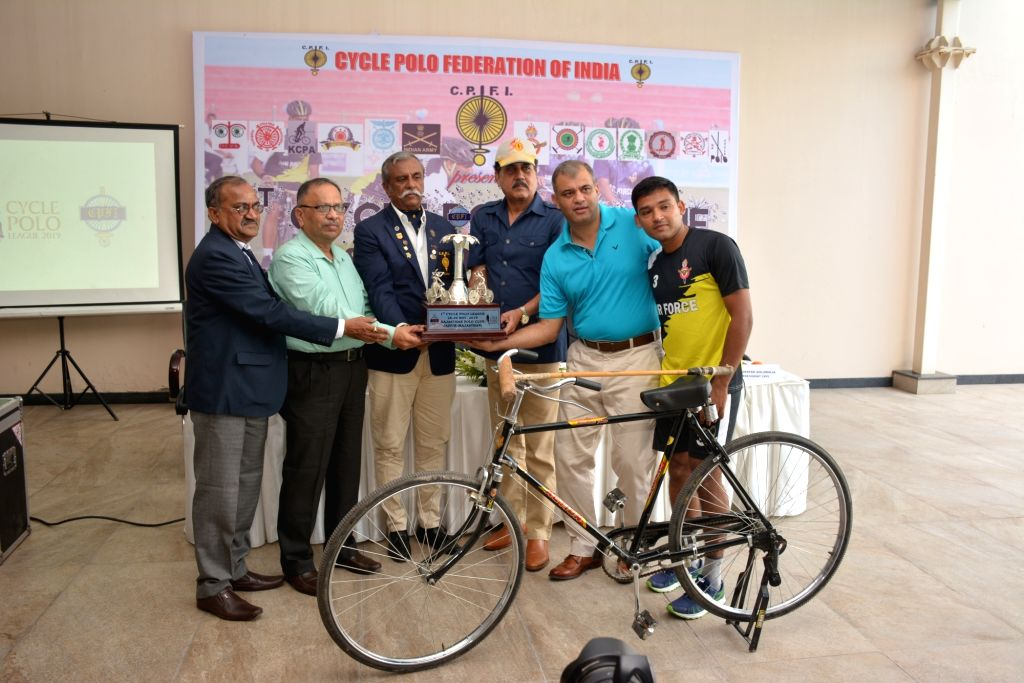 (L-R) Cycle Polo Federation of India (CPFI) Secretary Gajanan Burde, President R. S. Dundlod, Indian Air Force Air Officer-in Charge Administration (AOA) Air Marshal Pradeep Padmakar ... - Assarudeen Sha and A. K. Singh