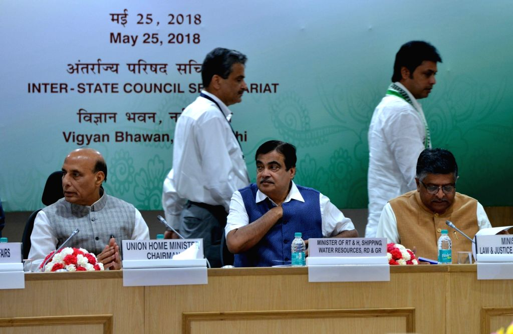 (L-R) Home Minister Rajnath Singh, Transport Minister Nitin Gadkari, Law and IT Minister Ravi Shankar Prasad and Railway Minister Piyush Goyal during the 13th meeting of Standing Committee ... - Rajnath Singh