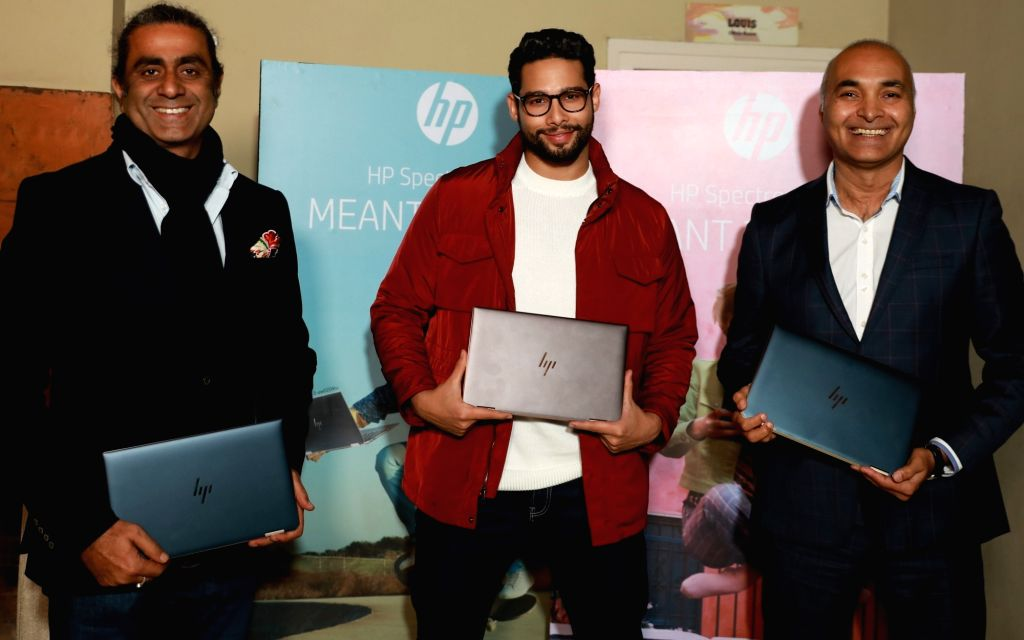(L-R) HP India Senior Director-Personal Systems Vickram Bedi, actor Siddhant Chaturvedi and HP Inc India MD Vinay Awasthi at the launch of HP Spectre x360 13. - Siddhant Chaturvedi