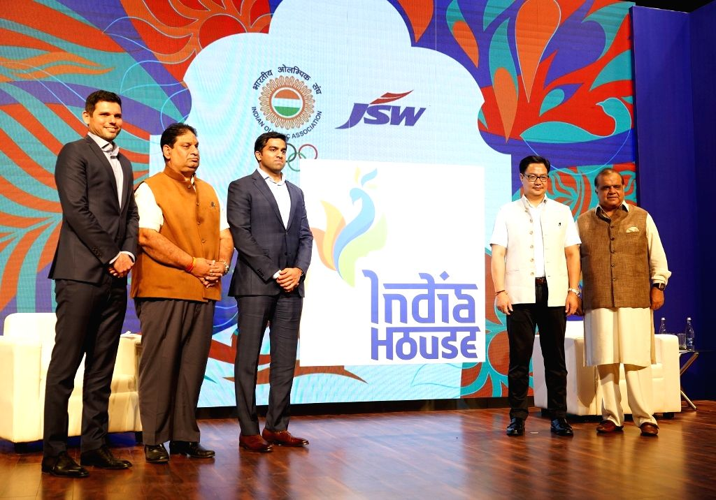 (L-R) JSW Sports CEO Mustafa Ghouse, Indian Olympic Association (IOA) Secretary General Rajeev Mehta, JSW Sports Director Parth Jindal, Union MoS Youth Affairs and Sports (Independent ... - General Rajeev Mehta