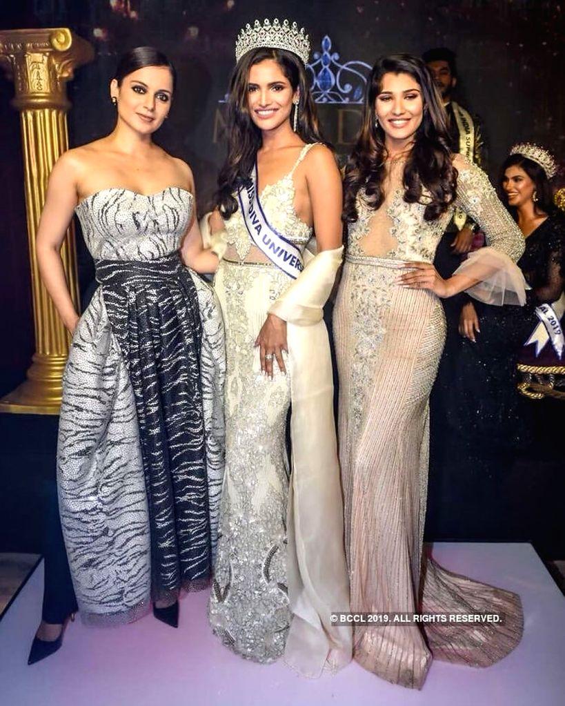 (L-R) Kangana Ranaut, Vartika Singh, Nehal Chudasama (Source: missdivaorg/Instagram) - Kangana Ranaut and Vartika Singh