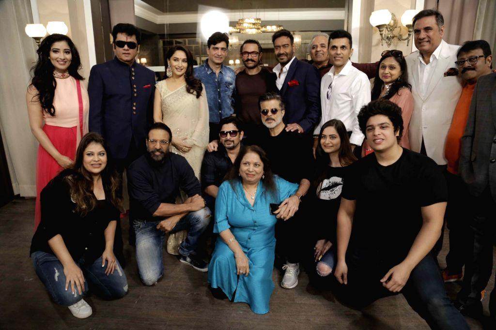 L-R Markand Adipati, Madhuri Dixit Nene, Indra Kumar, Aamir Khan, Ajay Devgn, Ashok Yhakeria and Anand Pandit - Ajay Devgn, Madhuri Dixit Nene, Kumar and Aamir Khan