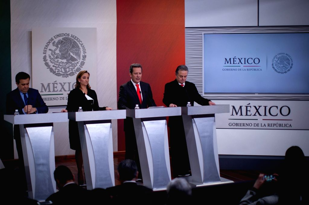 (L-R) Mexican Minister of Economy Ildefonso Guajardo, Minister of Foreign Affairs Claudia Ruiz Massieu, spokesman of Mexico's Government Eduardo Sanchez and ... - Pedro Joaquin Coldwell