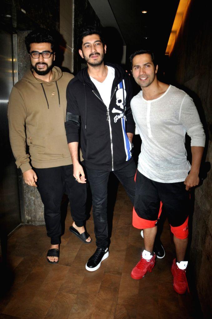 "(L-R) Mumbai: Actors Arjun Kapoor, Mohit Marwah and Varun Dhawan during the special screening of upcoming film ""Raag Desh"" in Mumbai on August 01, 2017. - Arjun Kapoor, Mohit Marwah and Varun Dhawan"