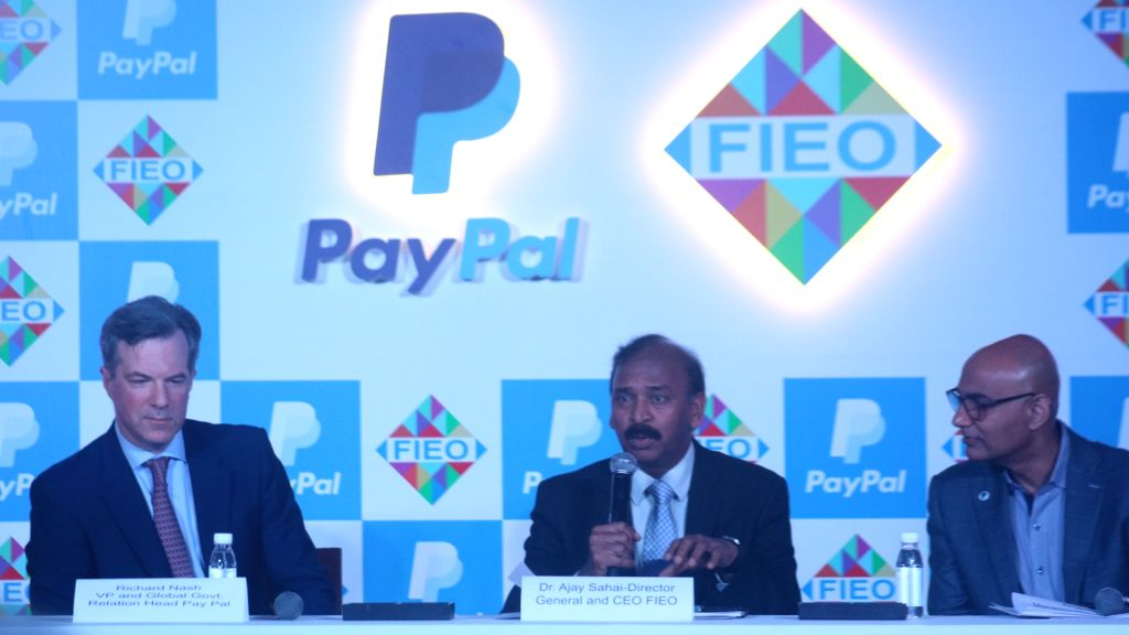 (L-R) PayPal Vice President and Global Government Relations Head Richard Nash, Federation of Indian Export Organisations (FIEO) DG and CEO Ajay Sahai and PayPpal India MD Anupam Pahuja ...