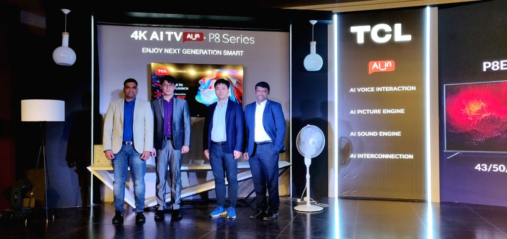 (L-R) TCL India Marketing Manager Vijay Kumar M, Marketing Director Sebastian Dong, Managing Director Mike Chen and Sales Head Arasoor Selvam at the launch of P8 Series of 4K AI Smart ...