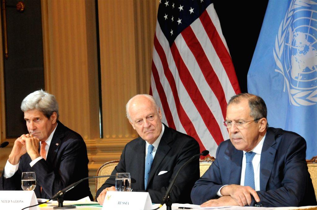 (L-R) U.S. Secretary of State John Kerry, Staffan de Mistura, United Nations Secretary-General Ban Ki-moon's special envoy for the Syrian conflict, and Russian ... - Sergei Lavrov