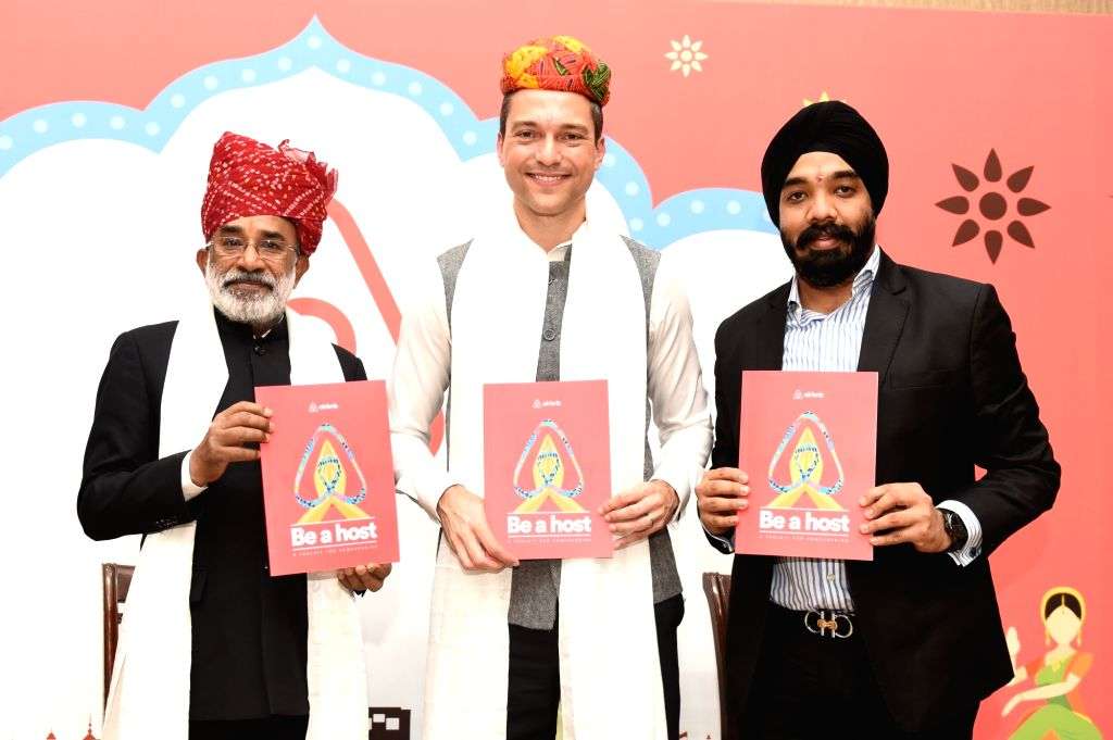 (L-R) Union MoS Tourism K J Alphons, Airbnb Co-founder and Chief Strategy Officer Nathan Blecharczyk and Airbnb India Country Manager Amanpreet Bajaj during a proframme organised to ...