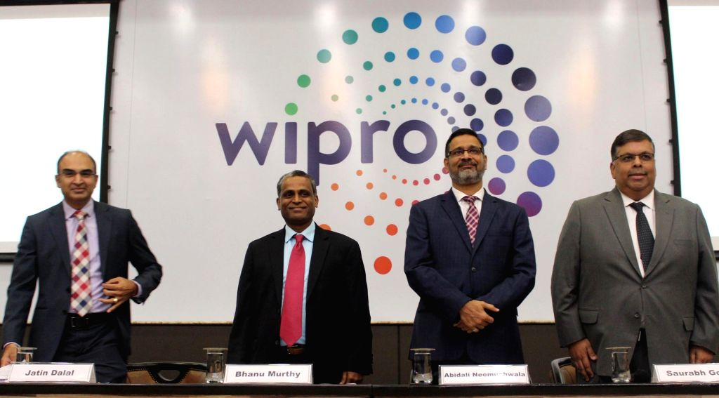 (L-R) Wipro CFO Jatin Dalal, President and COO B.M. Bhanumurthy, CEO Abidali Neemuchwala and Chief Human Resources Officer Saurabh Govil during a press conference where the company ...
