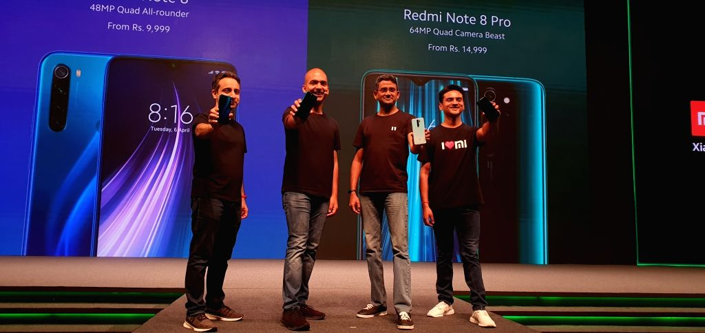(L-R) Xiaomi CMO Anuj Sharma, Xiaomi India VP Manu Kumar Jain, Xiaomi India COO Murali Krishnan and Product Marketing  Sumit Sonal at the launch of Redmi Note 8 in New Delhi on Oct 16, 2019. - Anuj Sharma and Manu Kumar Jain