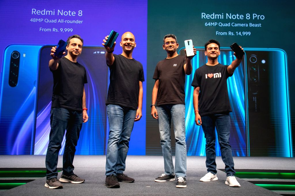 (L-R) Xiaomi CMO Anuj Sharma, Xiaomi India VP Manu Kumar Jain, Xiaomi India COO Murali Krishnan and Product Marketing Lead Sumit Sonal at the launch of Redmi Note 8 in New Delhi on Oct 16, 2019. (Photo: IANS) - Anuj Sharma and Manu Kumar Jain